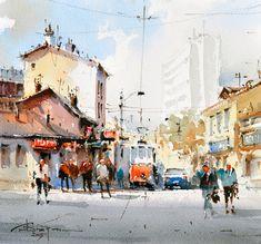 Corneliu Dragan-Targoviste | urban landscape watercolour-24
