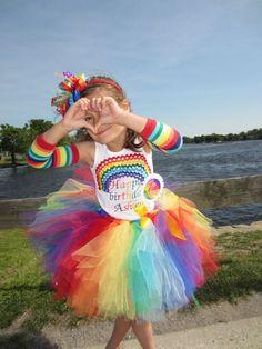 Girls rainbow outfit tshirt headband tutu set Any age