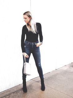 Lo & Sons crossbody Fidelity Denim Feels for Fall / Sleek Body Suit / High Waisted Denim / Velvet Boots