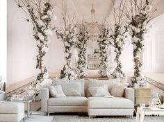 Salotto elegante? Perché no! La carta da parati 3D, con immagine di una stanza raffinata immersa nei fiori bianchi,è dedicata ai veri intenditori della bellezza #cartadaparati #cartedaparati #cartadaparati3d #decorazioni3d #fiori #architettura #eleganza #bimago