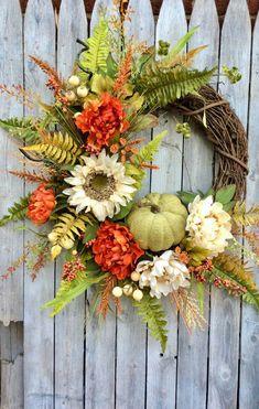 Thanksgiving Wreath Fall Door with Pumpkin Fall Pumpkin Door Decor Fall Pumpkin Wreath Orange and Green Autumn Door Wreath Fall Wreath Fall – Fall Wreath İdeas. Easy Fall Wreaths, Thanksgiving Wreaths, Thanksgiving Decorations, Holiday Wreaths, Wreath Fall, Yarn Wreaths, Ribbon Wreaths, Fall Door Wreaths, Tulle Wreath