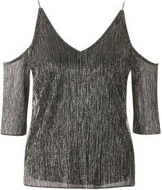 Metallic crinkle cold shoulder top