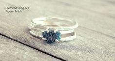 Raw diamond ring Blue diamond ring Raw stone ring by MisMundos