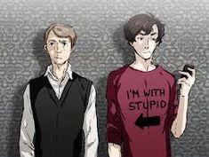 fanart for the new BBC Sherlock. idea to print T-shirt was taken from PIXIV. John and fuckin genius Sherlock Bbc, Sherlock Fandom, Sherlock Anime, Johnlock, Martin Freeman, Benedict Cumberbatch, Sherlock Cumberbatch, Sherlolly, 221b Baker Street