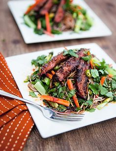 Vietnamese Steak Salad...I'll clean this up by using agave instead of sugar, low sodium soy and adding some strawberries or mandarins for some fruit.