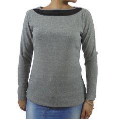 Camiseta mujer canalé escote gasa