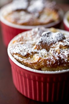Warm and cozy, this bread pudding comes with a rich and creamy spiced rum sauce to pour over top—a perfect holiday treat! Bread Pudding Recipe With Rum Sauce, Challah Bread Pudding, Pudding Recipes, Bread Puddings, Rice Puddings, Easy Desserts, Delicious Desserts, Individual Desserts, Pudding Ingredients