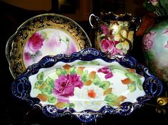Image detail for -Nippon Relish Tray ~ Hand Painted Cobalt, Roses & Gold ~ ca. late 1800 ...