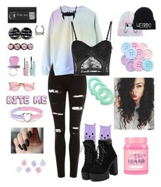 """""""Pastel"""" by pan-slytherin-unicorn-materialki ❤ liked on Polyvore featuring Hot Topic, Topshop, La Perla, ZeroUV, LOFT, Monsoon and Lime Crime"""