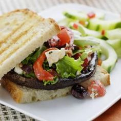 This mushroom sandwich comes topped with a luscious Greek-style salad.