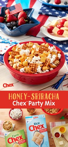 Get the 4th of July party started with Honey-Sriracha Chex Party Mix! Inspired by the summer heat, Honey-Sriracha Chex Party Mix is made with pretzels, peanuts, popcorn and the perfect combination of sweet and spicy flavor. Ready to serve in just 15 minutes, Honey-Sriracha Chex Party Mix is your 4th of July in the making.