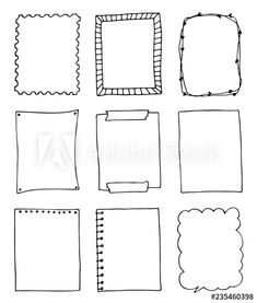 set of hand-drawn doodle frames - Buy this stock vector image, and find similar vector images on Adobe Stock Bullet Journal Lettering Ideas, Bullet Journal Notes, Junk Journal, Doodle Borders, Doodle Patterns, Doodle Frames, Doodle Art Drawing, Zen Doodle, Notebook Doodles