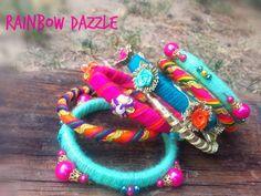 """53 Likes, 1 Comments - Rainbow Dazzle (@dazzling_rainbow) on Instagram: """"Sunday Hues ♥. . . #banglestack #jewellery  #pakistanifashion  #igers  #mehendi  #instahub…"""""""