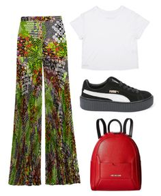 """""""CASUAL//THOSEPANTS"""" by smandagirl on Polyvore featuring Versace, Puma and Love Moschino"""