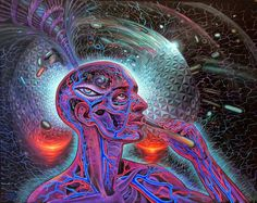 Psychedelic Spirit Paintings, Alex Grey Art Gallery – Third Monk Alex Grey is known for his paintings of glowing anatomical Alex Grey, Alex Gray Art, Art Gris, Art Visionnaire, Acid Trip, Psy Art, Pineal Gland, Mystique, Visionary Art