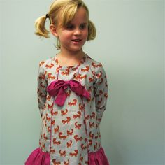 long sleeve girls dress with foxes bow and by SchoolHouseFrock, $60.00
