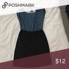 Teal and black dress Teal and black dress. Bottom is form fitting. Loose flowy top. Dresses Mini