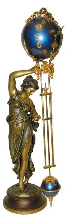 Art Nouveau Brass and Enamel Fisher Swing Clock by Ansonia Clock Co. Art Nouveau, Ansonia Clock, Art Ancien, Cool Clocks, Grandfather Clock, Antique Clocks, Art Moderne, Schmuck Design, New Art