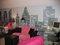cute city looking room. it looks like its the new york sky line or whatever they call it
