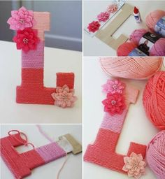 DIY Yarn Wrapped Letters with button deco Yarn Wrapped Letters, Yarn Letters, Diy Letters, Fancy Letters, Yarn Covered Letters, Decorated Letters, Pretty Letters, Alphabet Letters, Initial Letters