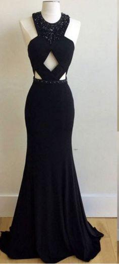 Jewel Neck Long Black Prom Dress with Beads