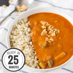 Healthy African peanut soup with rice. High in vitamin C, fiber and potassium. High in vitamin A, C, fiber and iron. Vegetarian and even vegan.