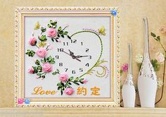 Ribbon-Embroidery-Kit-Flowers-Love-Oath-Clock-Face-with-Clock-Movement-RE3061