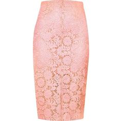 River Island Light pink lace pencil skirt ($20) ❤ liked on Polyvore featuring skirts, sale, pink high waisted skirt, pink pencil skirt, high waisted pencil skirt, high-waist skirt and knee length skirts