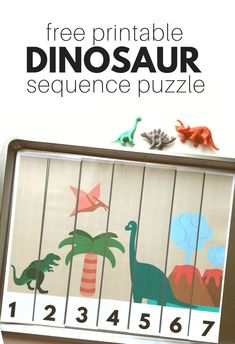Free printable dinosaur sequence puzzle for preschool! Great math activity for free choice or even to send home to create that home school connection!