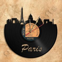 Wall Clock Paris Vinyl Record Clock Upcycled Gift by geoartcrafts