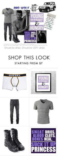"""""""Clarke: Hunting"""" by foreevers ❤ liked on Polyvore featuring Diesel, Calvin Klein, Balmain, Wrangler, men's fashion, menswear, StoryTeller, myownworld, ForgeFantasy and picturespainta1000words"""