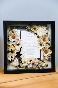 "Wedding Bouquet Preservation - 12""x12"" Box - Included keys and ring pillow from wedding - www.hanawillowdesign.com"