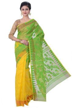 Green & Yellow Handloom Jamdani Saree