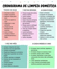 Pin by Viviane Carvalho on Dicas de limpeza da casa in 2019 House Cleaning Checklist, Weekly Cleaning, Cleaning Hacks, Organizing Tips, Home Organisation, Life Organization, Flylady, Personal Organizer, Home Hacks