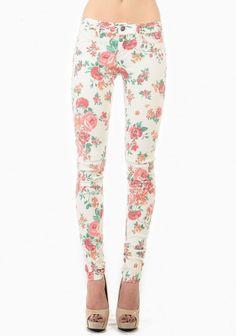 Contrast Flower Print Skinny Jean