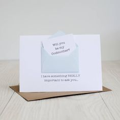 Secret Message 'Will You Be My Godmother?' Card