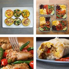5 Meal-Prep Recipes Egg muffins Breakfast wraps Taco bowls Chicken teriyaki Chicken, beans bowls