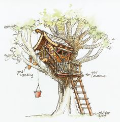 I need the bucket cable system for vbs 2015!  Fantasy Tree House Drawing A backyard treehouse inspired