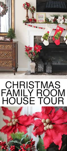 Family Room Christmas decor. Love the wreaths on the mirrors and the fireplace mantel!
