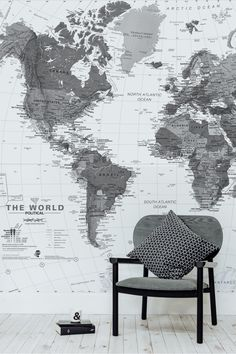 Stunning and sophisticated. This World map wallpaper is full of detail and makes for an excellent backdrop in a home office.