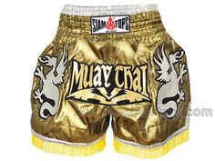 Siamtops Siamtops Muay Thai shorts *Dragon* Brass Color for sale.  [ST-S-142-A]