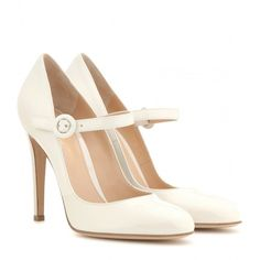 Gianvito Rossi Patent Leather Mary Jane Pumps ($270) ❤ liked on Polyvore featuring shoes, pumps, heels, scarpe, sapatos, white, white mary jane shoes, white pumps, patent mary jane pumps and white heel shoes