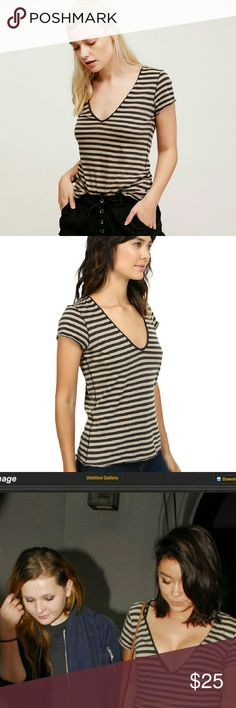 Free People Avery Tee, black & tan stripes, S Adorable deep v-neck tee from Free People. Great basic tee with classic stripes that have an edge (not your tyical b&w). Worn once and washed on gentle cycle, line-dried. Sarah Hyland spotted wearing it, so you know it's cool ;) Free People Tops Tees - Short Sleeve