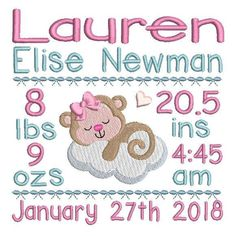 Baby Birth Announcement -Template Machine Embroidery Design. 3 sizes are included with your purchase - 4x4, 5x7, 6x10. Many popular machine formats included.