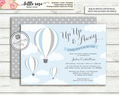 Boy hot air balloon baby shower invitation up up and away chevron hot air balloon baby shower invitation up up by littlerosestudio filmwisefo