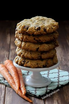 The perfect non-cakey spiced carrot cake cookies with oatmeal and chocolate chips throughout