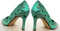 Wedding shoes Emerald green pump sparkle Cinderella by norakaren, $255.00
