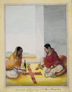 Two Indian ladies wearing traditional muslim dress playing the traditional Indian board game Pachisi. Lucknow, ca.1815. © V&A Images