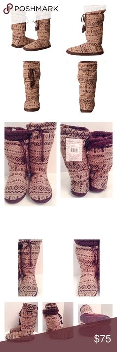 """Muk Luks Tall Grommet Fair Isle Sweater Boot Muk Luks tall grommet fair isle 2 brown tie sweater boot.  Size women's large, 9-10.  New with plastic bag in which they arrived. Acrylic knit upper with a drawstring closure on the shaft.  Faux Sherpa lining.  Cushioned insole for added comfort.  Durable synthetic outsole.  Circumference:  25""""; shaft:  14"""".  No trades. Muk Luks Shoes"""