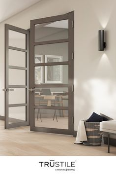 Our New Contemporary Design Collection pairs design and utility. The new Tru&Modern Ultra Narrow Design offers wood and glass panel styles that bring a modern touch to any space. 🚪TMUN5000 Home, Home Office Decor, Living Room Door, Home Remodeling, Contemporary Doors, Aesthetic Room Decor, House Interior, Log Home Interiors, Contemporary Design